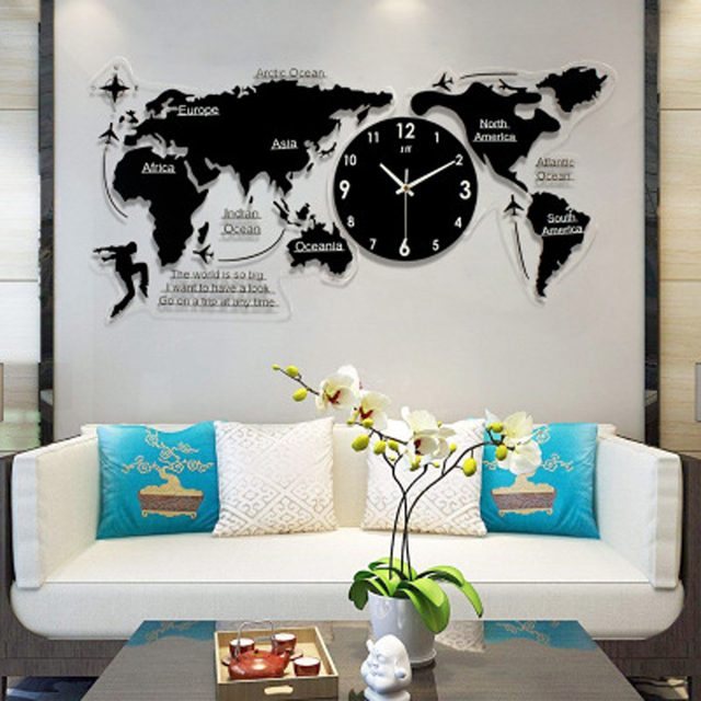 Large World Map Wall Clock Modern Design Background Decoration Acrylic 3D Stickers Hanging Clocks Wall Watch Home Decor 120x55cm