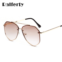 Ralferty Pilot Sunglasses Women Gradient Brown Sun Glasses R