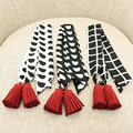 Women Chiffon Winter Tassel Small Ribbon Scarf Dot/ Square Printed Scarves Hair Band Bags Handle Decoration Bow Tie Twilly S6