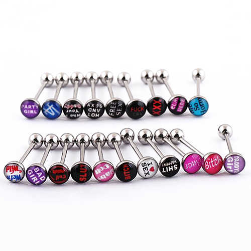 10Pcs Fashion Punk Nightclub Words Ear Tongue Bars Rings Studs Piercing Jewelry