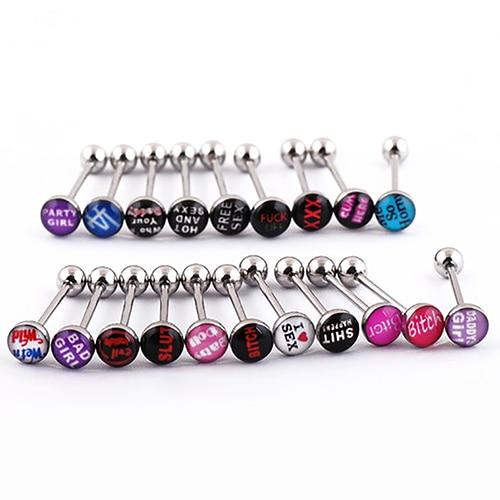 10Pcs Fashion Punk Nightclub Words Ear Tongue Bars Rings Studs Piercing Jewelry