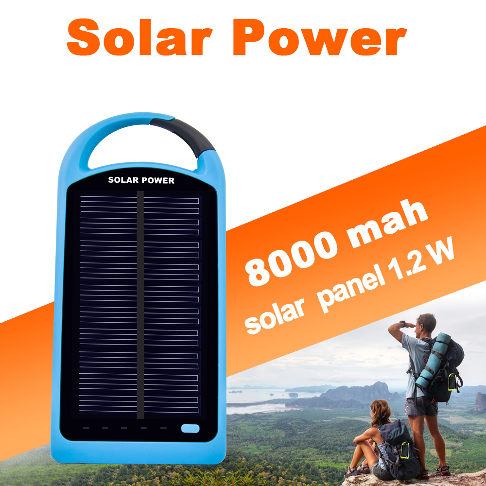 Sunever diseño creativo impermeable dual usb 8000 mah banco de la energía solar,