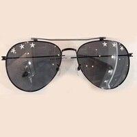 2017 New Pilot Sunglasses Women High Quality Brand Designer Vintage Fashion Sunglasses With Stars On Lens