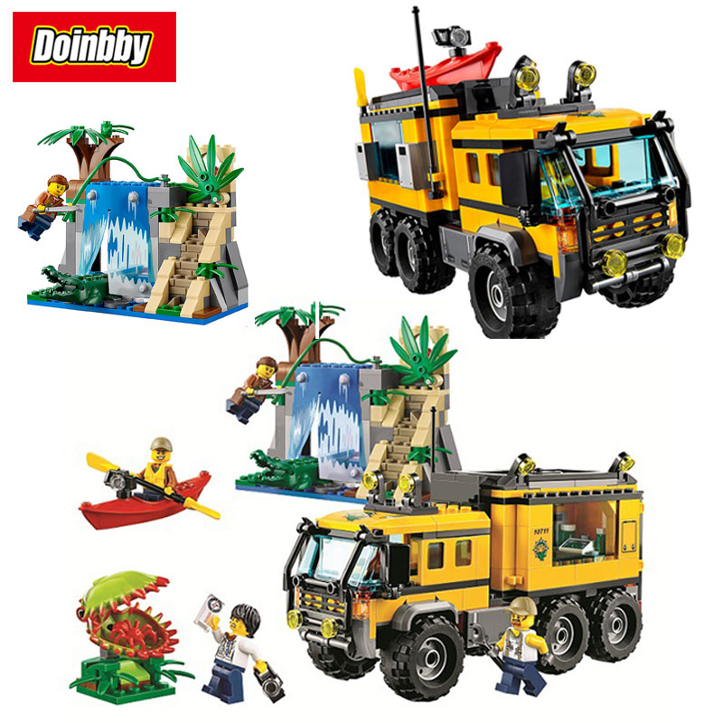 Bela 10711 City Jungle Explorers Jungle Mobile Lab 465Pcs Building Block Toys Children Gifts Cities Compatible 60160 toys lab конструктор цирковой поезд