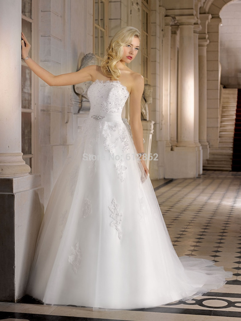 Strapless Beaded Lace A Line Long Long Train Wedding