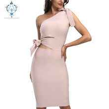 CUERLY Women Sexy Slim fit hollow out Bandage Dress New 2019 Summer One Shoulder Tassel Celebrity Runway Party Dresses Vestidos