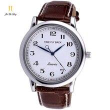 Tempo da História No Sentido Contrário Clássico Homens de Negócios de Moda Relógios de Quartzo Pulseira de Couro Genuíno relógio de Pulso Masculino homem À Prova D' Água