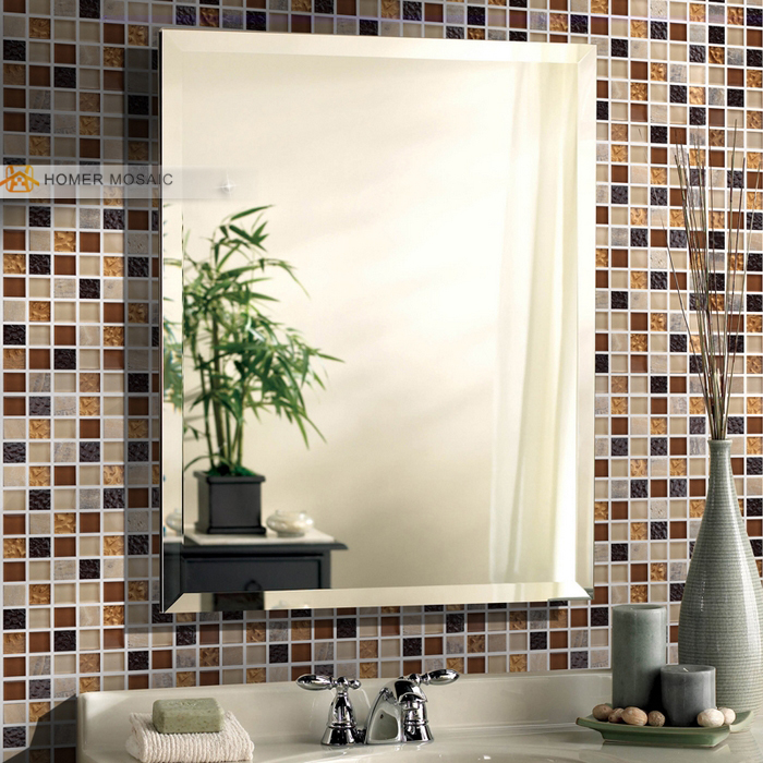 brown color zone glass mixed stone tiles bathroom wall mosaic ...