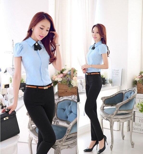 b501cd9019a85 Verano uniforme de gala diseño moda trajes de pantalones para mujer  pantalones blusas establece para jpg