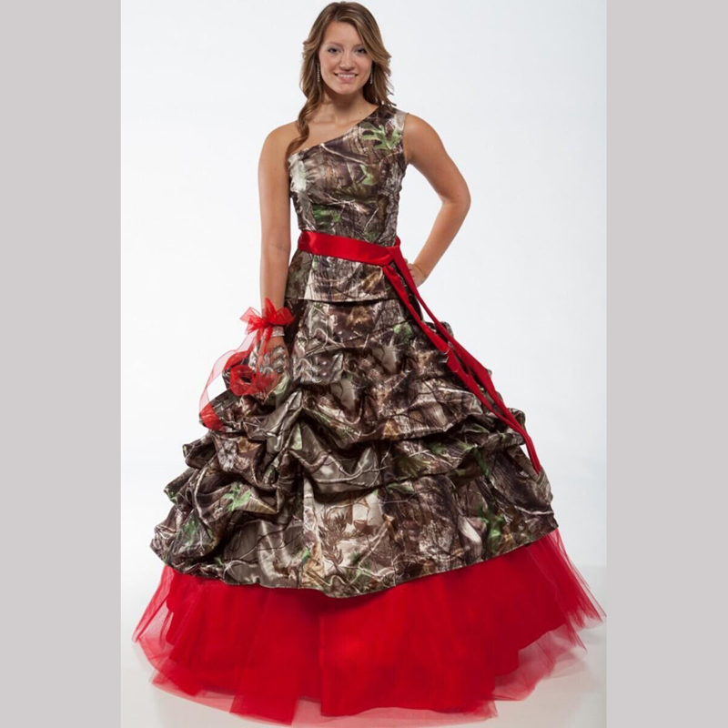 Red One Shoulder Camo Wedding Dresses 2016 Realtree With Sash Floor Length Camouflage Ruffles 2017 Modest In From Weddings Events On