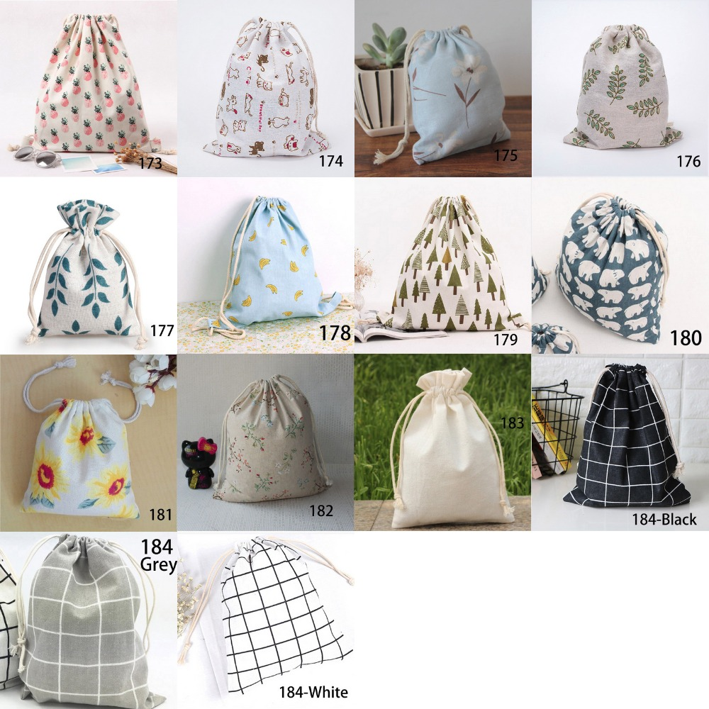 Factory Price 14 Styles Cotton Line Drawstring Pouches Candy Favor Holder Jewelry Party Gifts Bag 14x16cm 19x24cm 25x32cm Bag