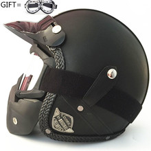 New Synthetic Leather Motorcycle Helmet Retro Vintage Cruiser Chopper Scooter Cafe Racer Moto Helmet 3/4 Open Face Helmet moto racer 4 digital deluxe edition цифровая версия