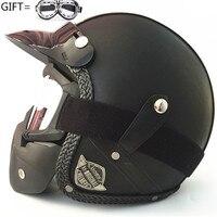 New Synthetic Leather Motorcycle Helmet Retro Vintage Cruiser Chopper Scooter Cafe Racer Moto Helmet 3/4 Open Face Helmet