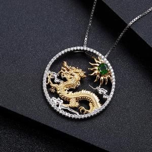 Image 5 - GEMS BALLET Natural Chrome Diopside Chinese Zodiac Jewelry 925 Sterling Silver Handmade Flying Dragon Pendant Necklace ForWomen