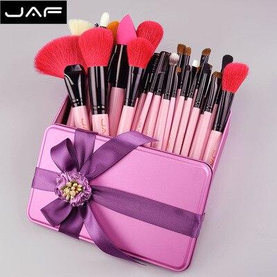 5 ensembles JAF 32 pièces Beauté Rose Pinceau De Maquillage Naturel Rouge Pinceaux de Maquillage De Cheveux De Chèvre en Boîte-Cadeau Emballage Son Meilleur Cadeau D'anniversaire