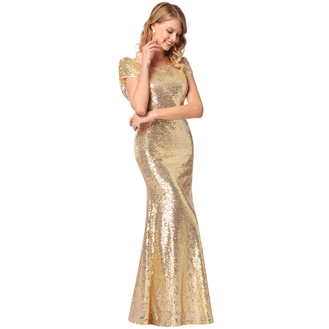 UNIQUEWHO Women Elegant Sequin Maxi Dress Sexy Exposed Back Short Sleeve  Sequined Mermaid Dress Wedding Evening b0ac737ed417