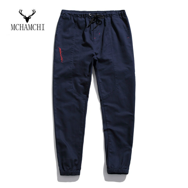 MCHAMCHI Embroid Cor Sólida Calças Novos Homens Primavera Harem Pants Casuais pés magros maré de algodão soltas calças hip hop dança baixo pés