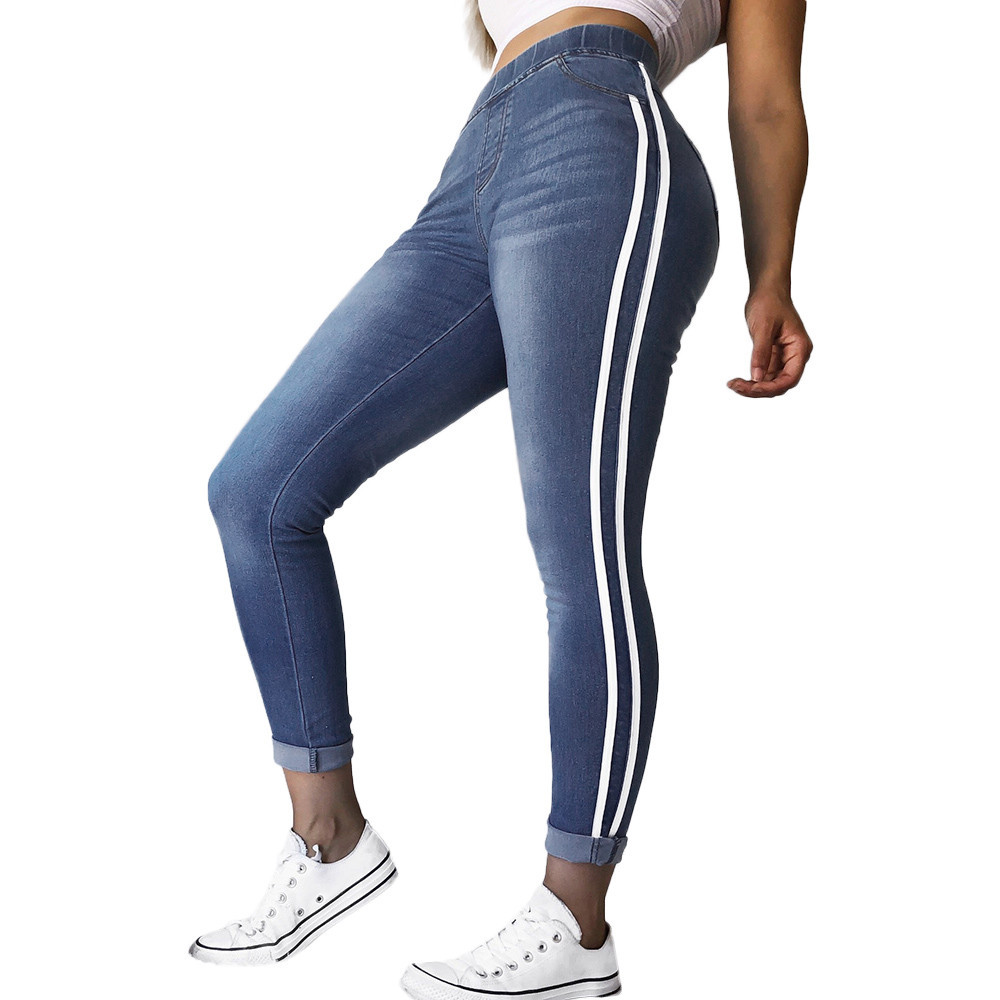 JAYCOSIN Women Clothes   Jeans   Skinny Elastic Waist   Jeans   Mujer Fashion Casual Spliced Hip Pocket Ribbon Cotton Denim Trousers