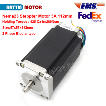 Nema23 stepper motor 57x112mm 2.8N.m 425 Oz-in 3A 4 wires for 3D printer parts CNC engraving milling machine 23HS2430 image