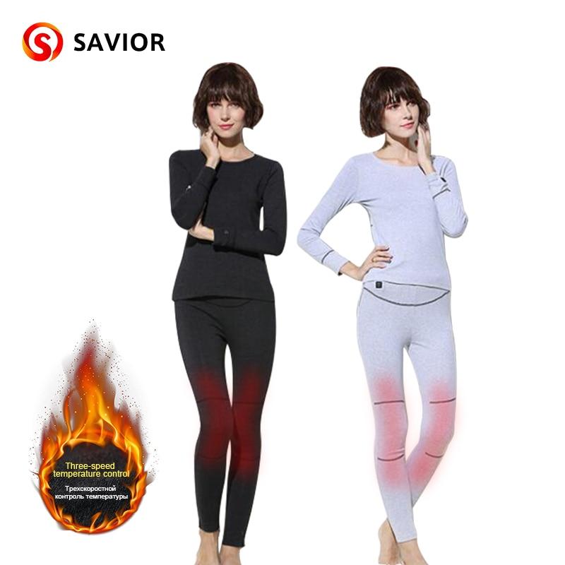 Спаситель для женщин теплое белье зима Спорт на открытом воздухе 40 55 градусов 3 уровня Управление безопасности нагревательная ткань брюки д