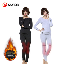 SAVIOR women's heated underwear battery heating clothes winter outdoor sports riding battery safe heating pure cotton Christmas 2018 savior safety health battery heating cap winter heating cap bicycle riding elderly