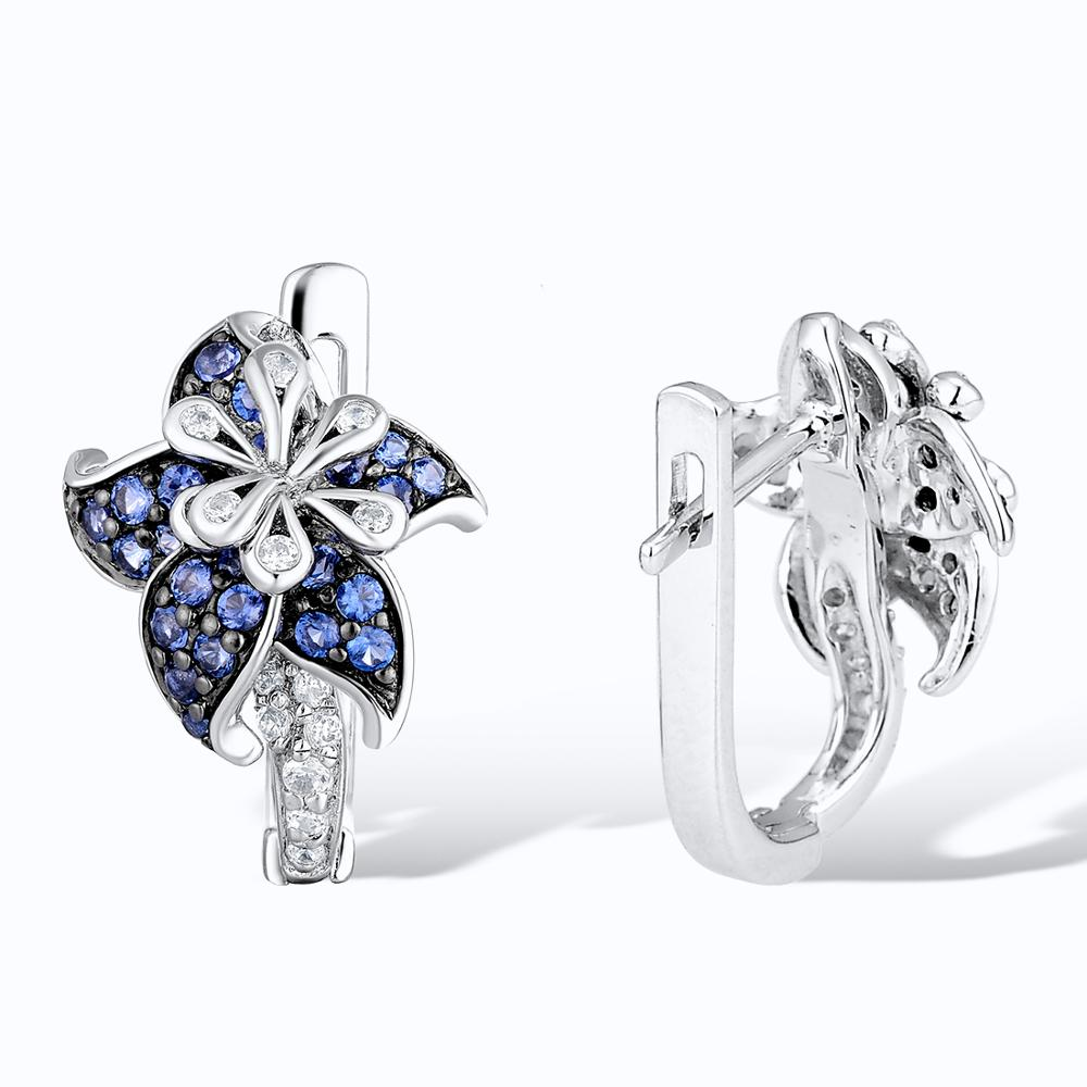 Image 4 - SANTUZZA Silver Jewelry Set For Woman Authentic 925 Sterling Silver Blue Star Flower White CZ Ring Earrings Set  Fashion Jewelry-in Jewelry Sets from Jewelry & Accessories