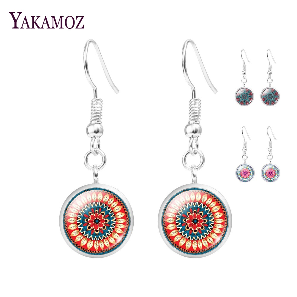 2017 New Fashion Mandala Flower Glass Cabochon Statement Earrings Jewelry For Women Buddhism Mandala Long Drop Earrings Women