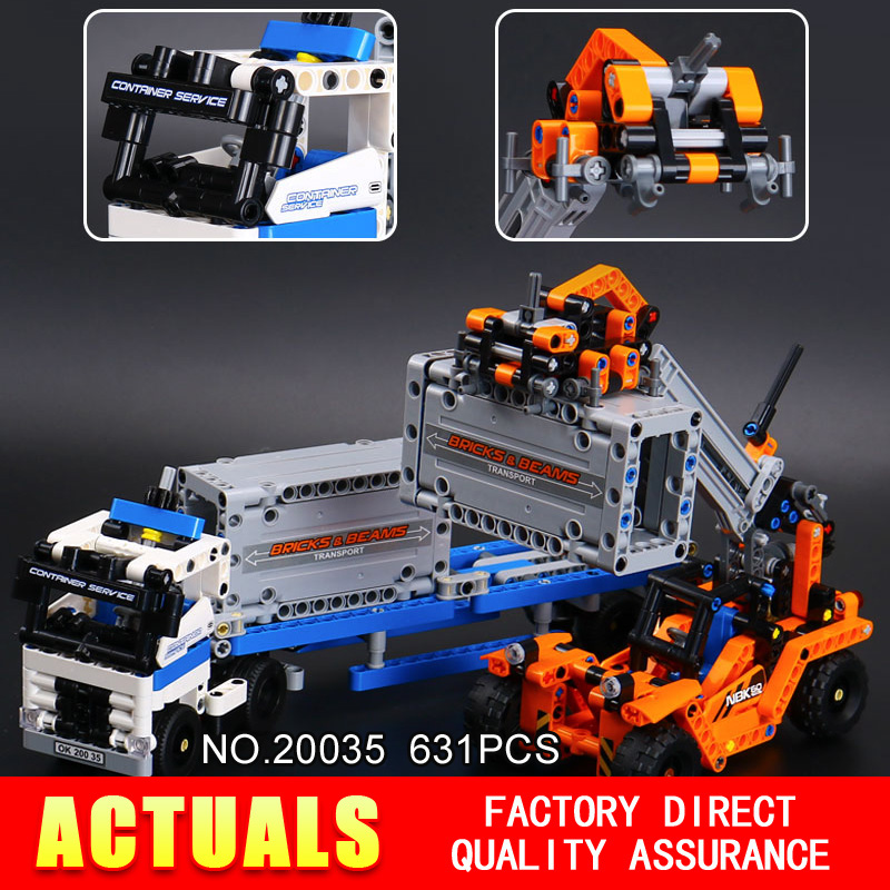 Lepin 20035 631Pcs Technic Series The Container Trucks and Loaders Set Model Building Kits Blocks Bricks Toys Model for Children construction equipment backhoe skid steer loaders wheel loaders road roller service manuals for hyundai