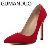 Suede High Heels Womens Shoes 11CM Super High Black Red Green Stilettos Jump Pumps Sexy Pointed