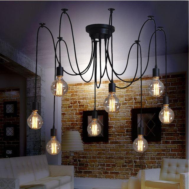 Retro Modern DIY 8 Liontin Lampu Gantung E27 Edison Bola Spider Malam Fixture Living Room