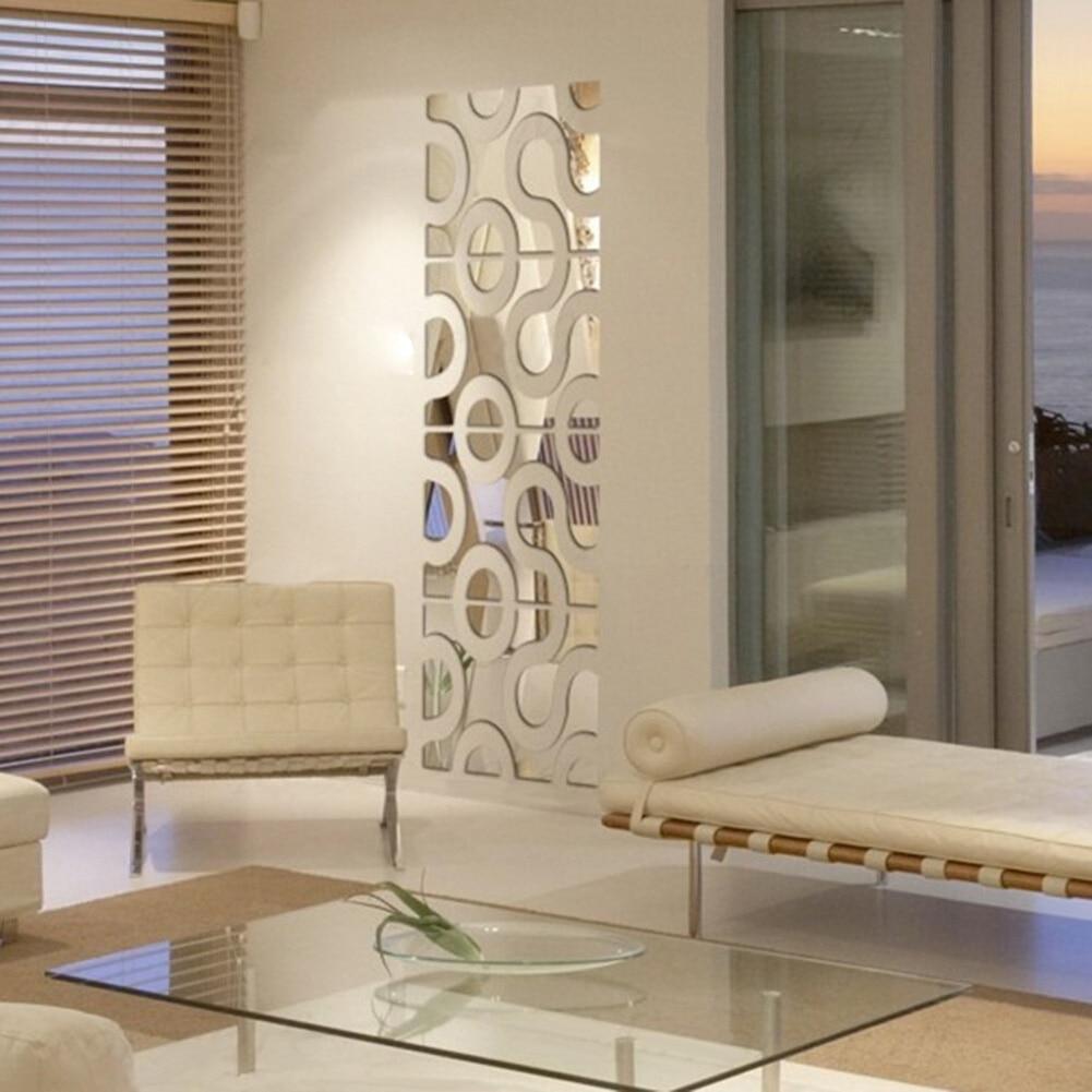 24pcs set 30x120cm 3d acrylic wall sticker diy mirror home for Wall stickers decor modern
