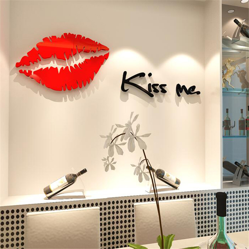Buy 2016 New Plastic wall stickers Sexy Lips 3D three-dimensional Crystal pattern living room marriage room TV wall decor picture for $8.77 in AliExpress store