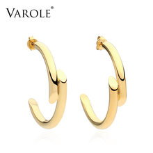 Varole Новые простые линии Дизайн 100% медь золото Цвет серьги