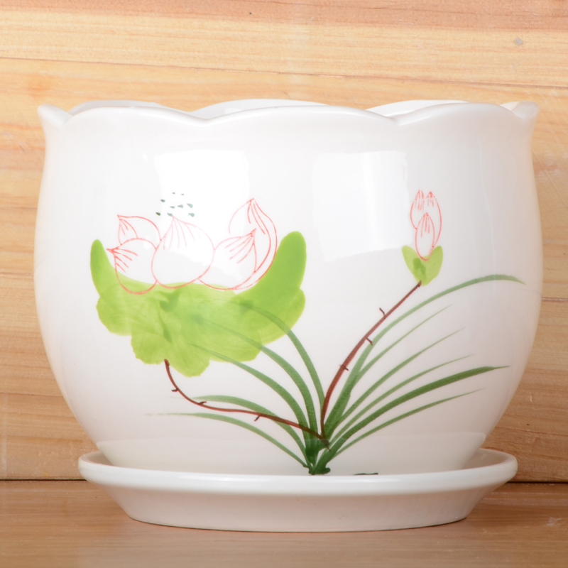 Flower Design Ceramic Pot Large Contracted Plants Basin Carries The Balcony Office Green Plant POTS with
