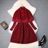 Dress Suit 2018 Autumn Winter Women's New Bow Vintage Cloak + Turtleneck Perspective Lace Two piece Dress Above The Knees S XL