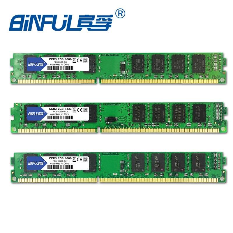 BINFUL DDR3 2GB 1333MHZ 1600MHZ 1066MHZ PC3-10600 PC3-12800 PC3-8500 Desktop RAM Memory 240pin 1.5