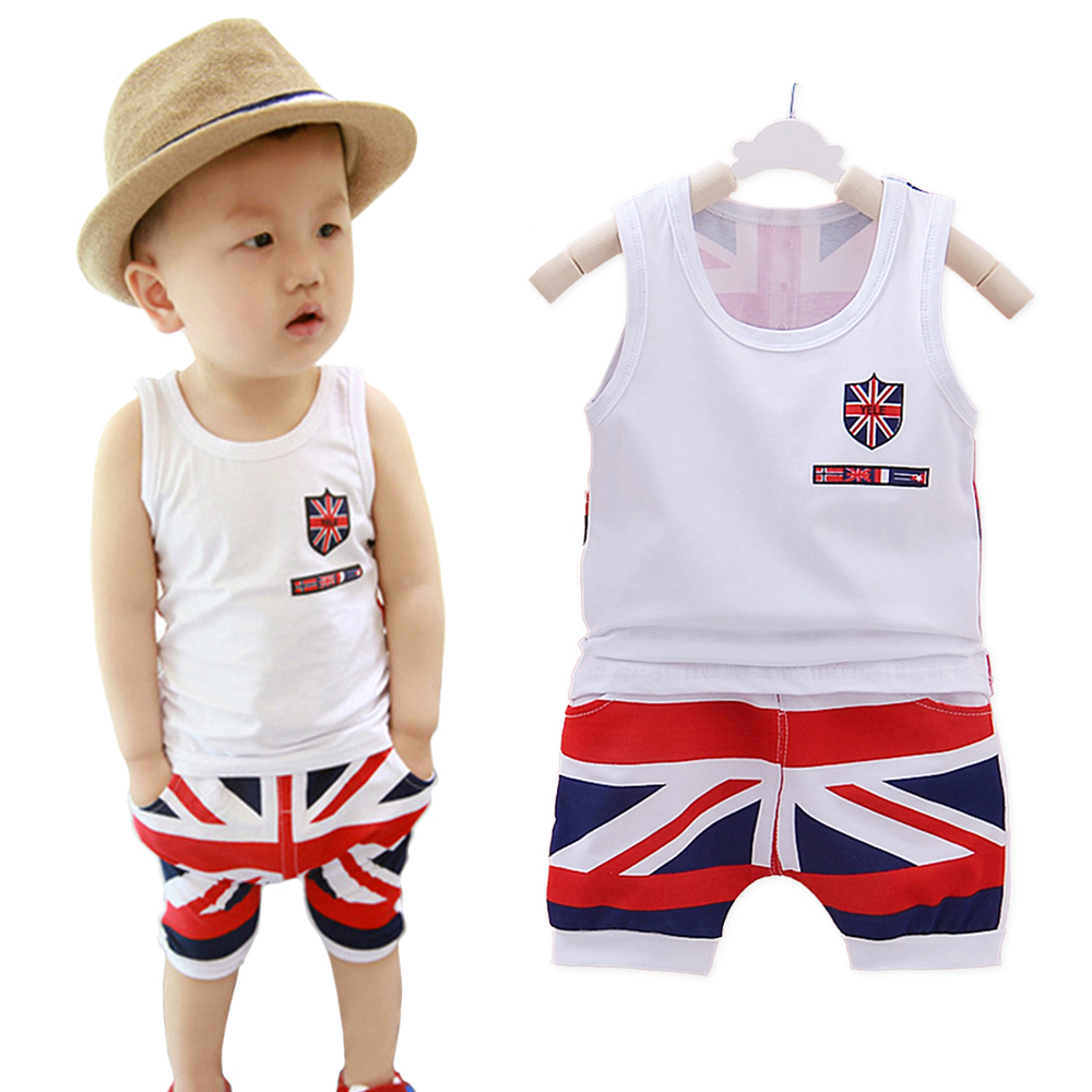 Clearance Baby Boys Girls Clothing Set Cotton Flag Print Vest Pants Fashion Toddler Summer Casual Active Sleeveless Clothes