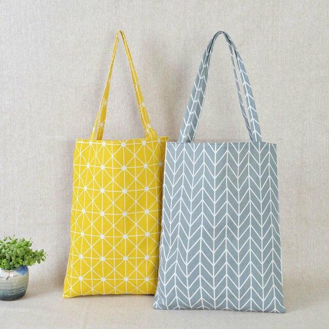 Women Casual Plaid  Linen Cotton Canvas Shopping Shoulder Bags Tote Bags Tote 1