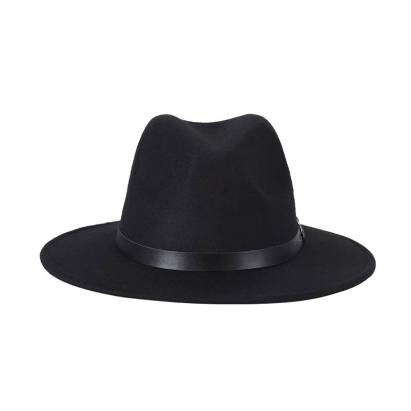 New autumn and winter men 39 s fedora hats unisex solid belt fashion caps large size warm and comfortable adjustable wool cowboy in Men 39 s Fedoras from Apparel Accessories