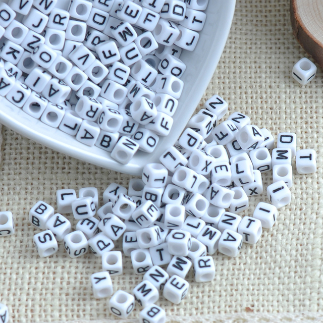 Mixed white Acrylic Alphabet/Letter square Beads Pony Beads For Jewelry Making 6