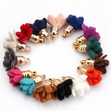 OlingArt  10PCS/LOT flower pendant suede tassel for DIY Jewerly making with gold bell earring findings and jewelry parts