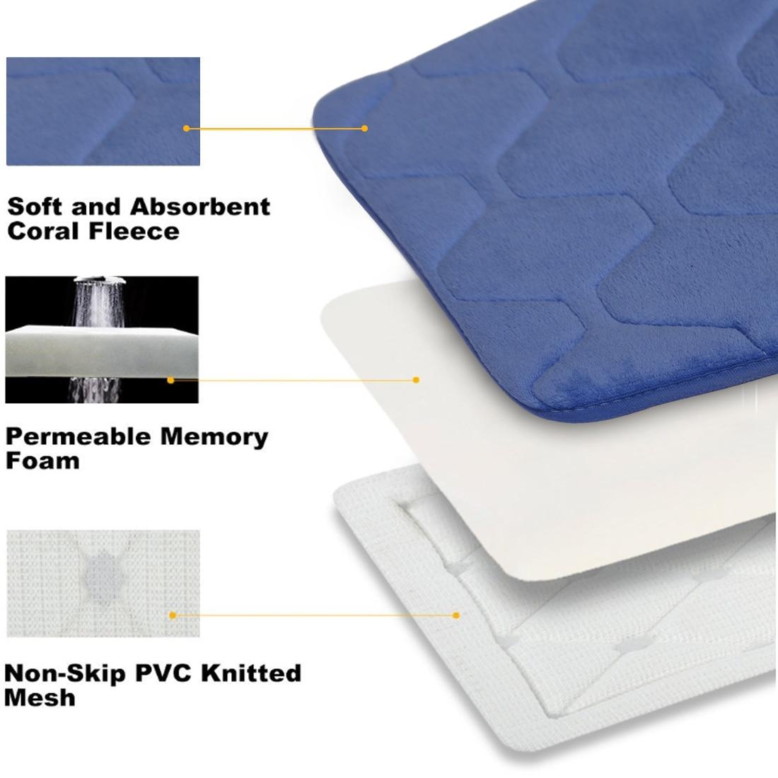 New 40cmx60cm 1PC Absorbent Bathroom Mat Memory Foam Non slip ...