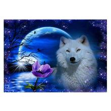Moon Wolf Diamond Painting Christmas 5d DIY Embroidery Snowflake Omni Drill From Rhinestone Wall Sticker Decorating Home