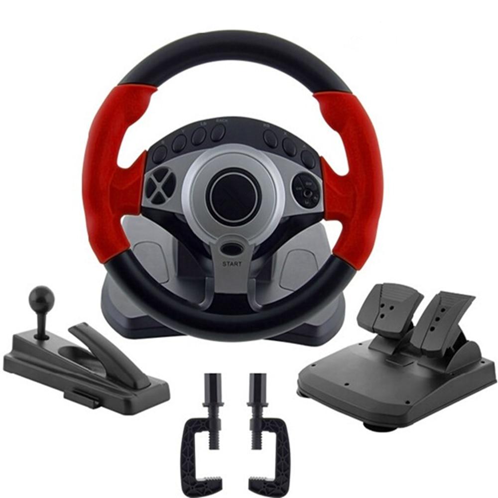 900 degrees Racing game steering wheel computer learning car driving simulator belt, throttle brake pedal, clutch pedal, stall l mata bor amplas