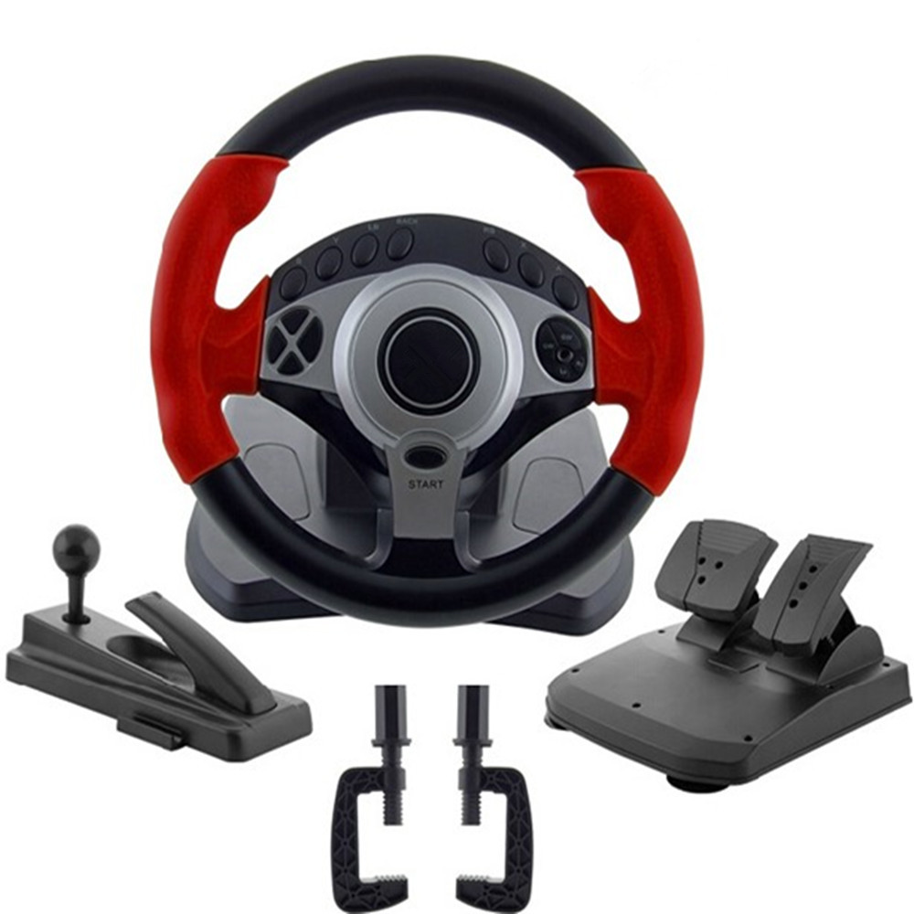 900 degrés Racing game volant ordinateur d'apprentissage simulateur de conduite automobile ceinture, accélérateur pédale de frein, embrayage pédale, décrochage l