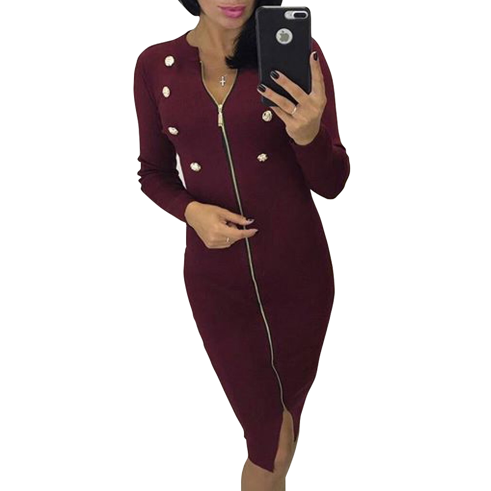 Forceful 2018 New Bodycon Winter Dress Womens Fashion Dress Long Sleeve Buttons Zipper Autumn Warm Dresses Zip Up Gv1040 Women's Clothing