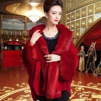 F885 European and American Women Winter Clothes fine imitation fur Fox Fur Wraps female Cape knitted shawl Cloak