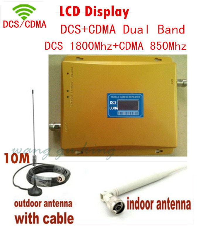 LCD Display ! Dual Band 4G DCS 1800mhz+ CDMA 850mhz Signal Booster Mobile Phone Booster Amplifier , Cell Phone Repeater Extender