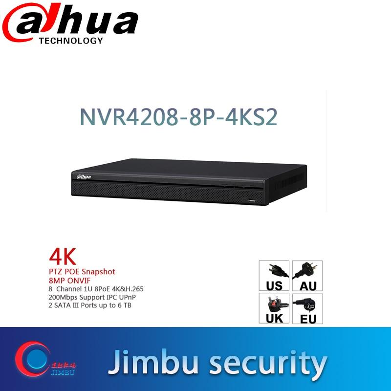 dahua NVR 4K network recorder DHI NVR4208 8P 4KS2 8POE ports Motion Detection Max 200Mbps Incoming