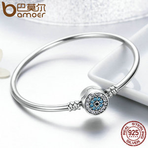 Image 5 - BAMOER High Quality Authentic 925 Sterling Silver Blue Eyes Clear CZ Snake Chain Heart Bangle & Bracelet Luxury Jewelry SCB012